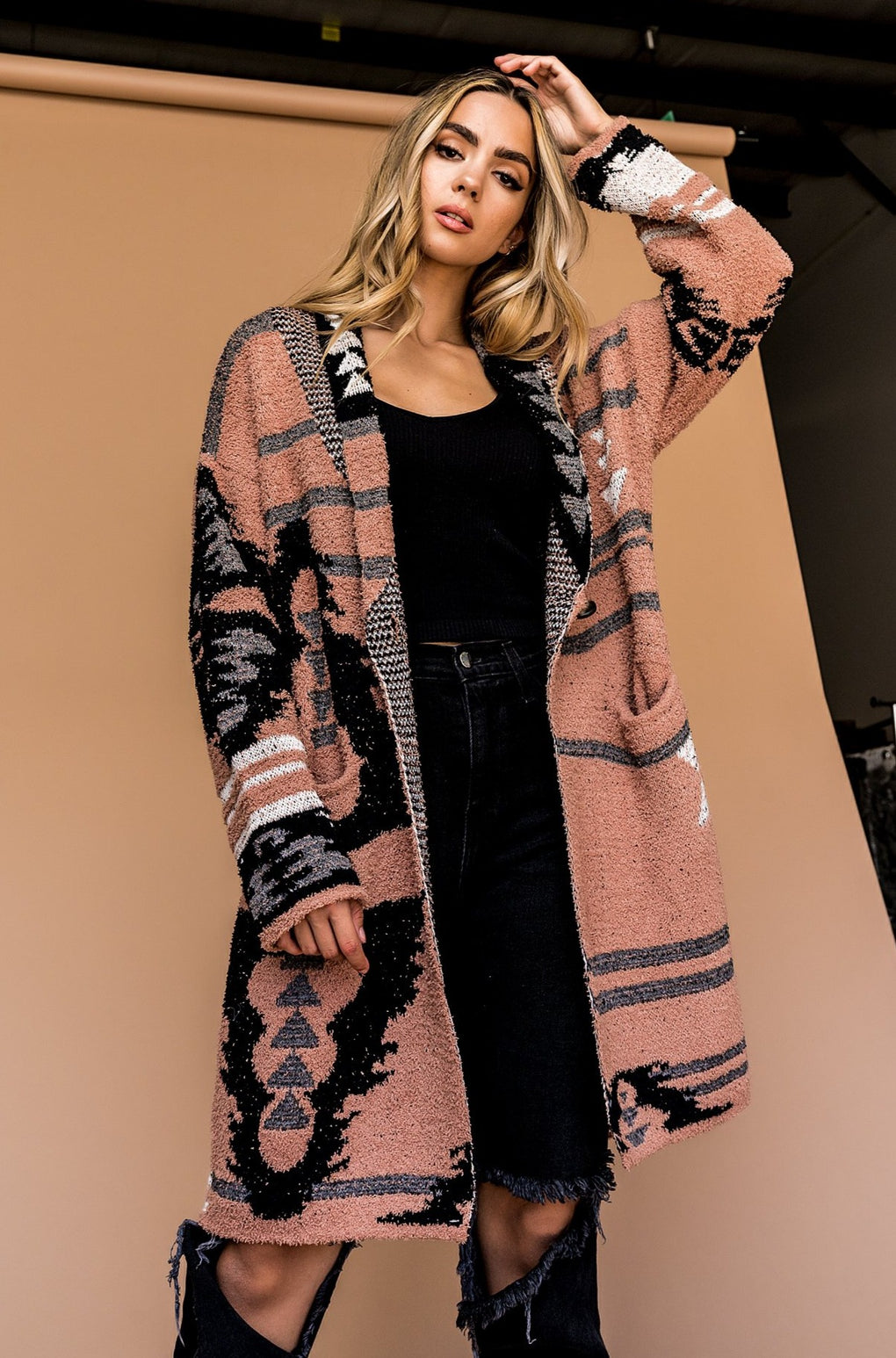 Paradise Valley Aztec Cardigan in Sand