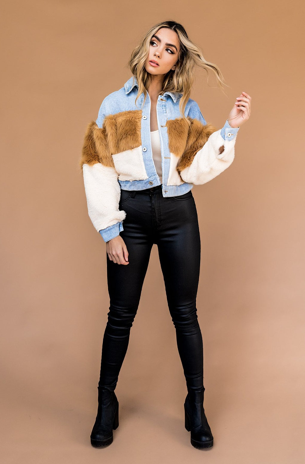 Honey Girl Faux Fur Cropped Denim Jacket