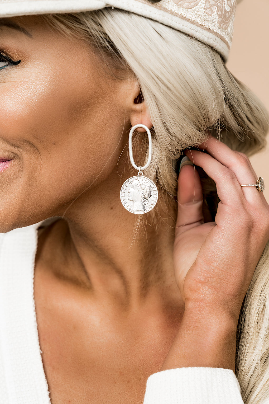 Good Luck Silver Coin Earrings