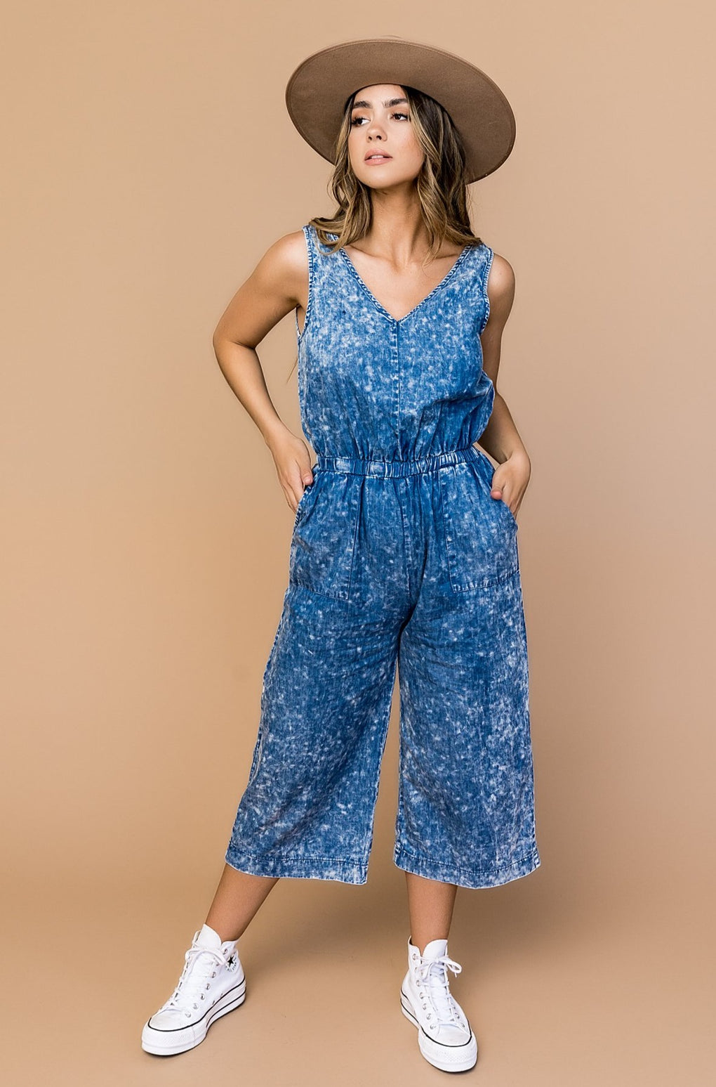 Out Of The Blue Acid Wash Wide Leg Jumper