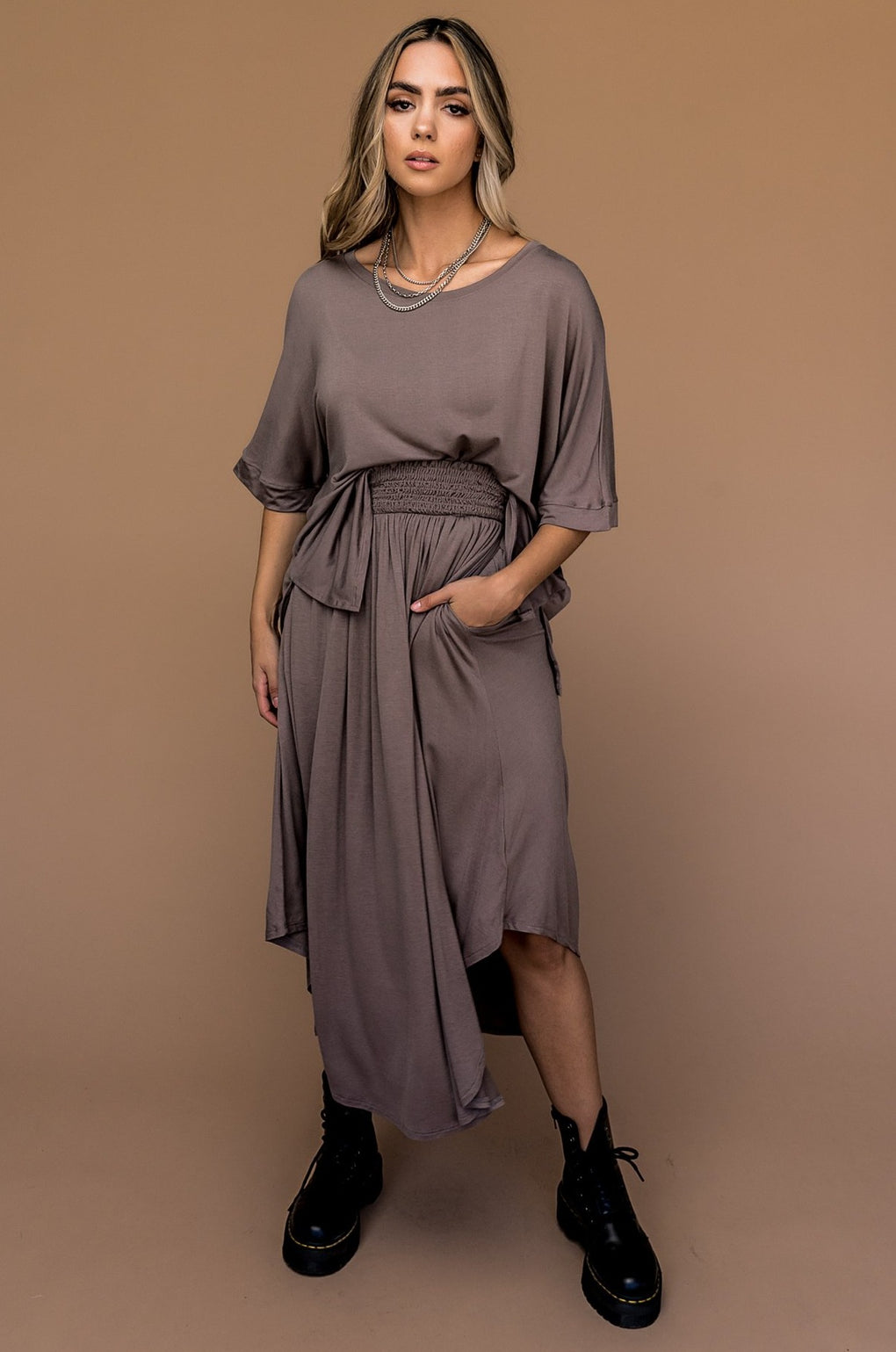 Upper West Side Top and Skirt Set in Clay
