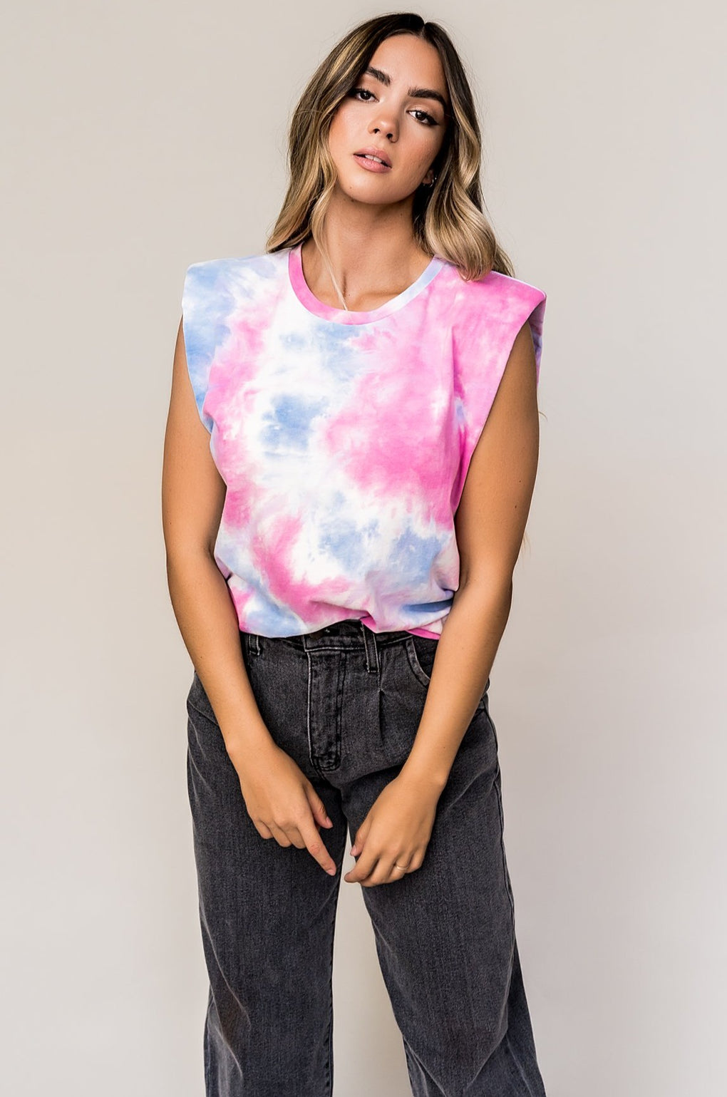 Bad Babe Muscle Tee in Cotton Candy Tie Dye