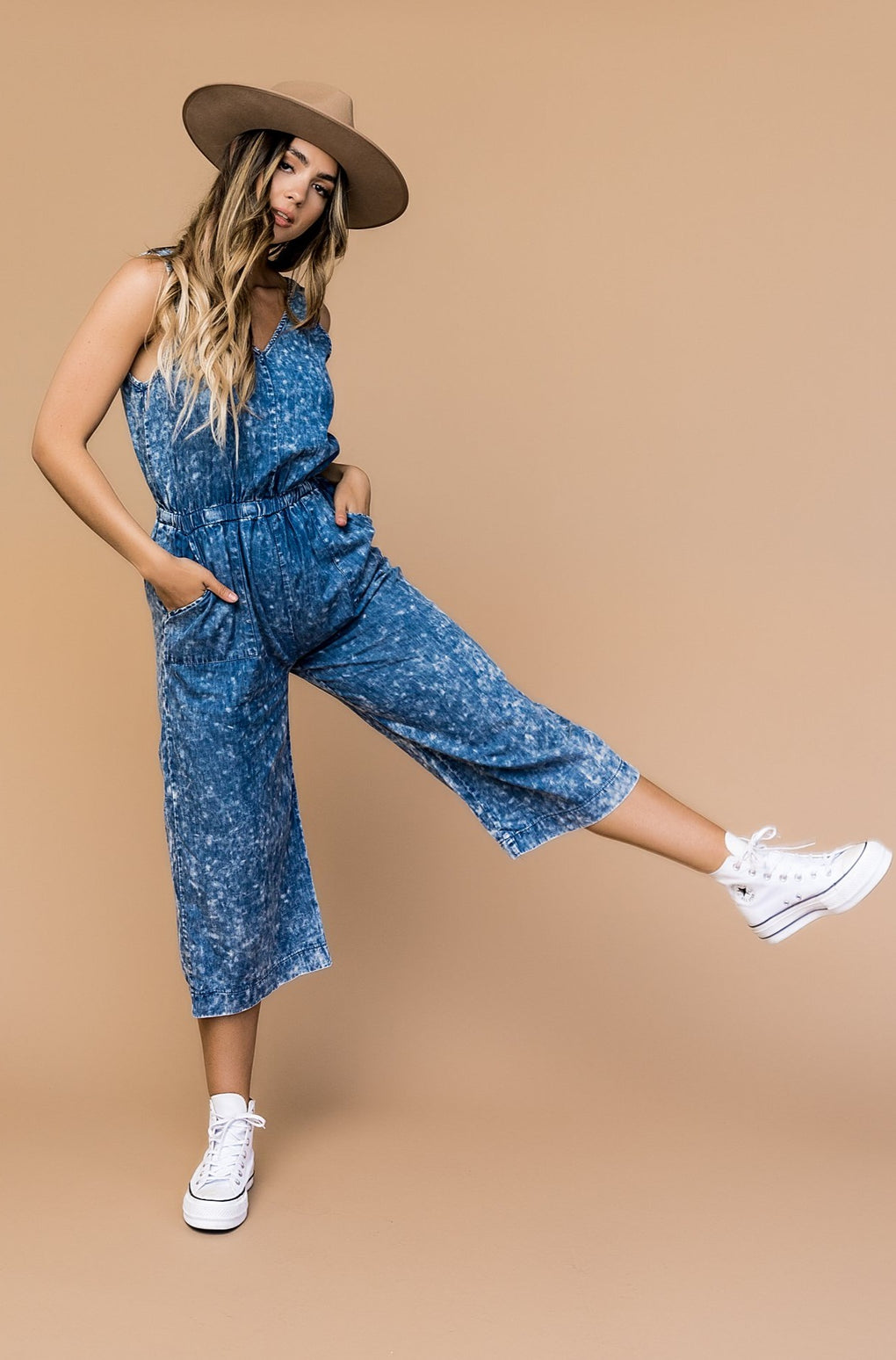 Out Of The Blue Acid Wash Wide Leg Jumper *RESTOCKED*