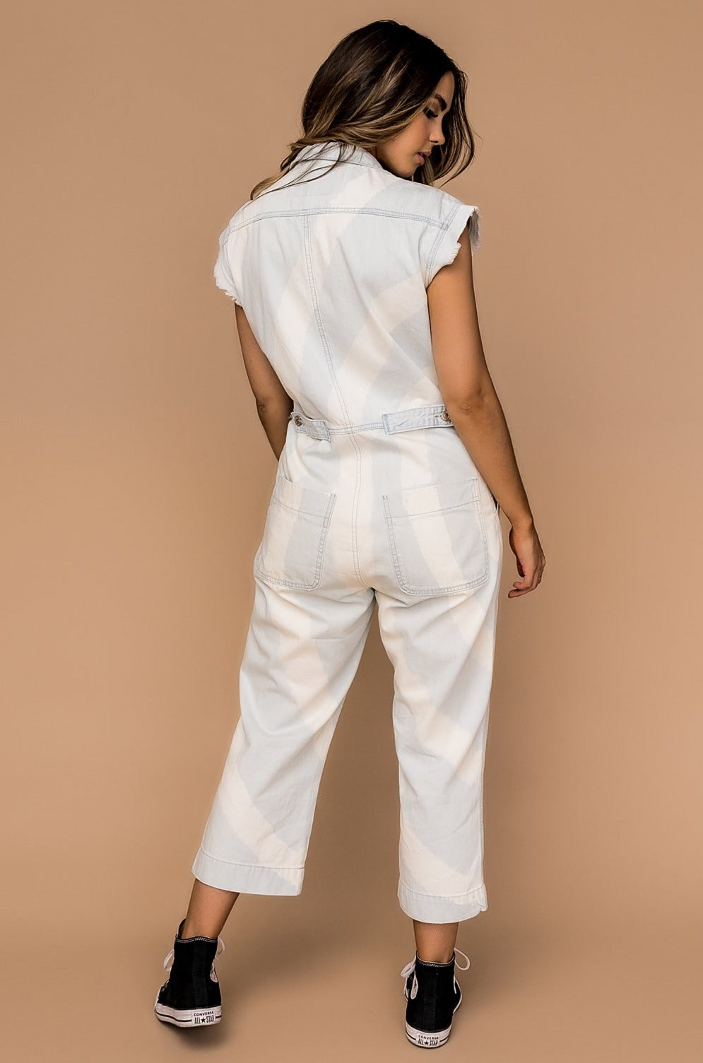 Sky High Luxe Bleach Dyed Denim Jumpsuit