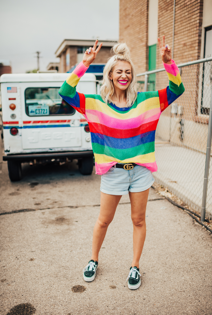 Follow the Rainbow Knit Sweater