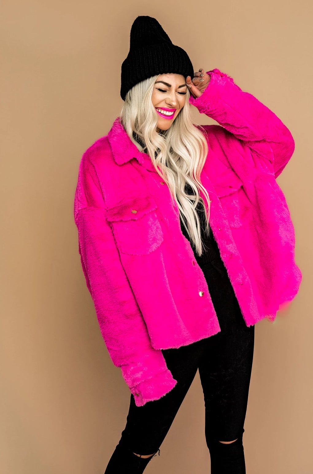 Badass Barbie Faux Fur Trucker Jacket