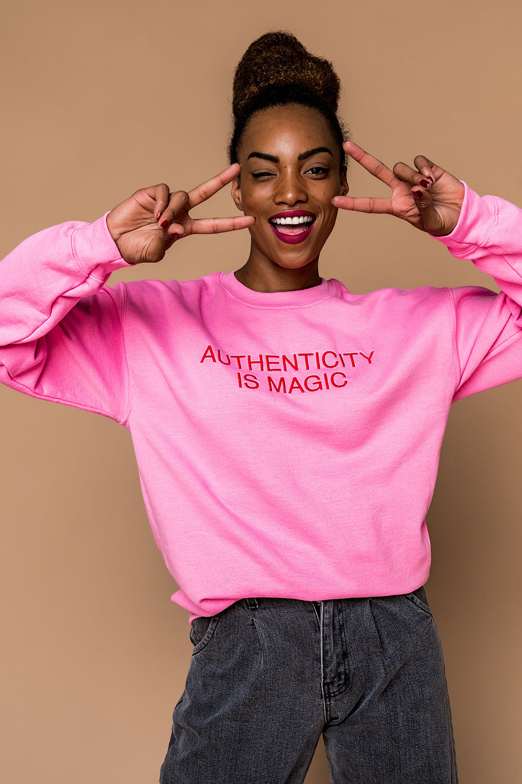 LALA ORIGINAL DESIGN: Authenticity is Magic Embroidered Pullover