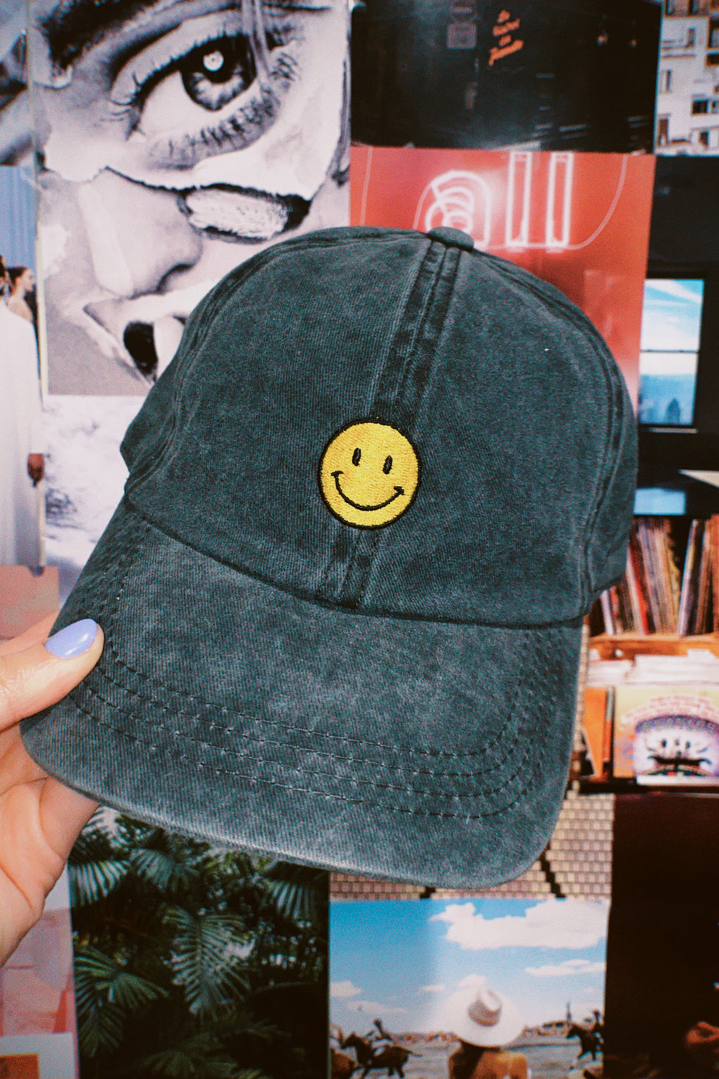 Happy Vibes Baseball Hat in Black