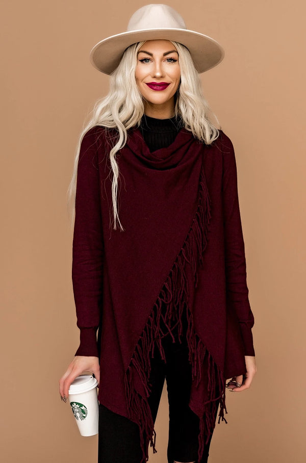Mama Mia Wrap Sweater in Burgundy
