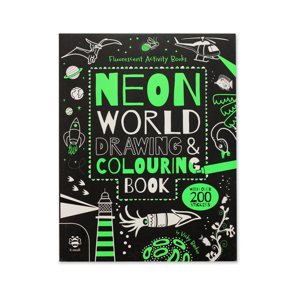 Neon World Drawing and Coloring Book