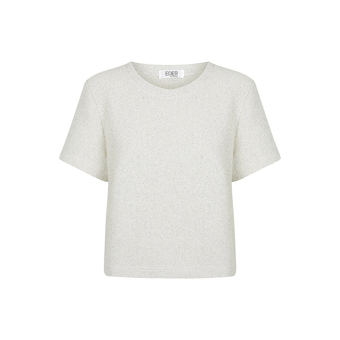 Gabrielle Tailored Tee Cream Tweed