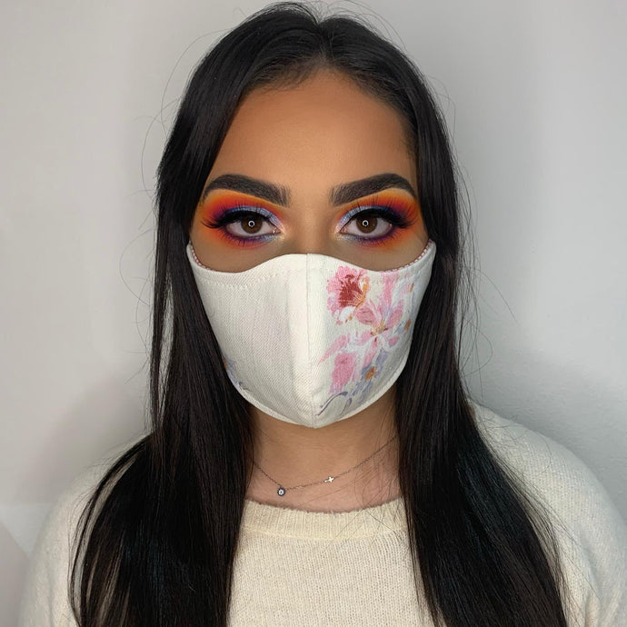 Floral Denim Face Mask