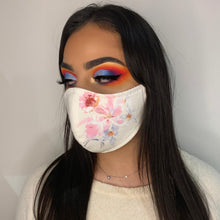 Load image into Gallery viewer, Floral Denim Face Mask