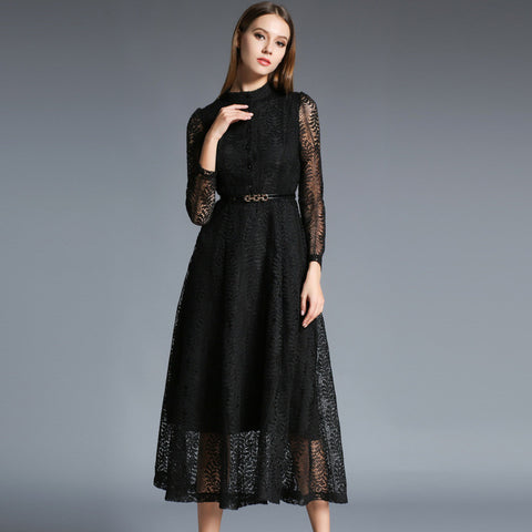 Cambree Lace Long Sleeve Dress - Black - One Piece Dress - Stage & Splendor