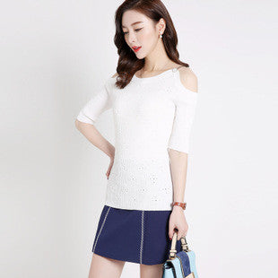 Addy Shoulderless Top - White - Top - Stage & Splendor