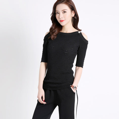 Addy Shoulderless Top - Black