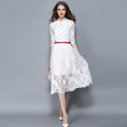 Genette Lace Dress - White