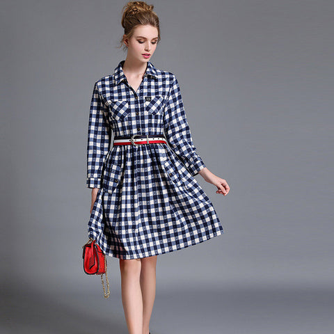 Yaffa Checkered Dress