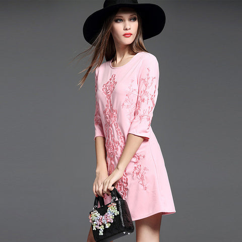 Ilana Mid Sleeve Dress - Pink - One Piece Dress - Stage & Splendor