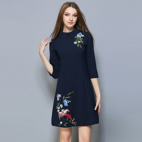Brittany Mid Sleeves Dress - Blue - Dress - Stage & Splendor