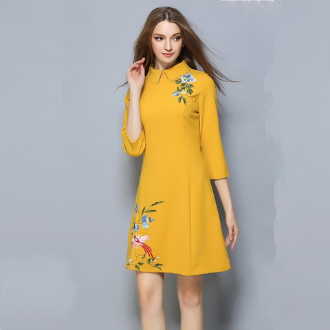 Brittany Mid Sleeves Dress - Yellow - Dress - Stage & Splendor