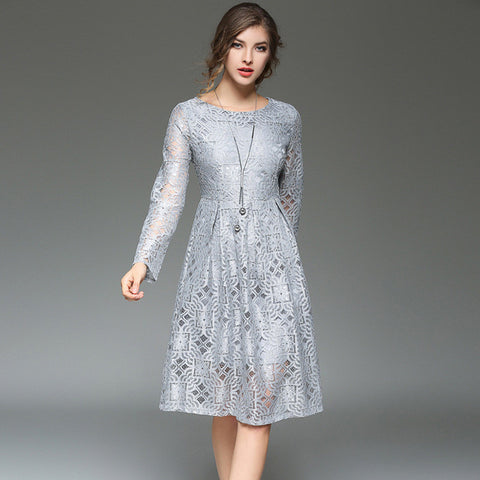 Floella Lace One Piece Dress - Grey - Dress - Stage & Splendor