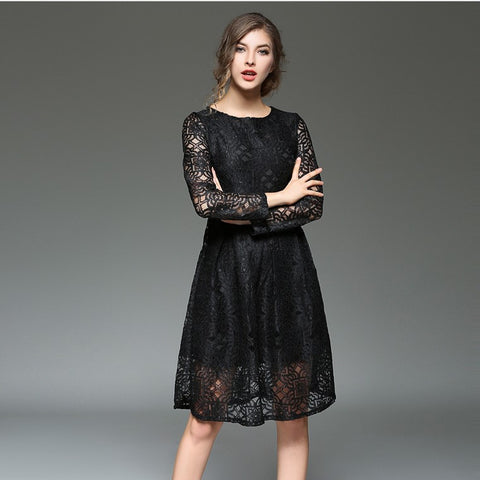 Floella Lace One Piece Dress - Black - Dress - Stage & Splendor