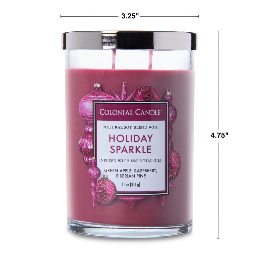 Colonial Candle Classic Cylinder Scented Jar Candle, Holiday Sparkle, 11 oz, Wholesale - 4 pk