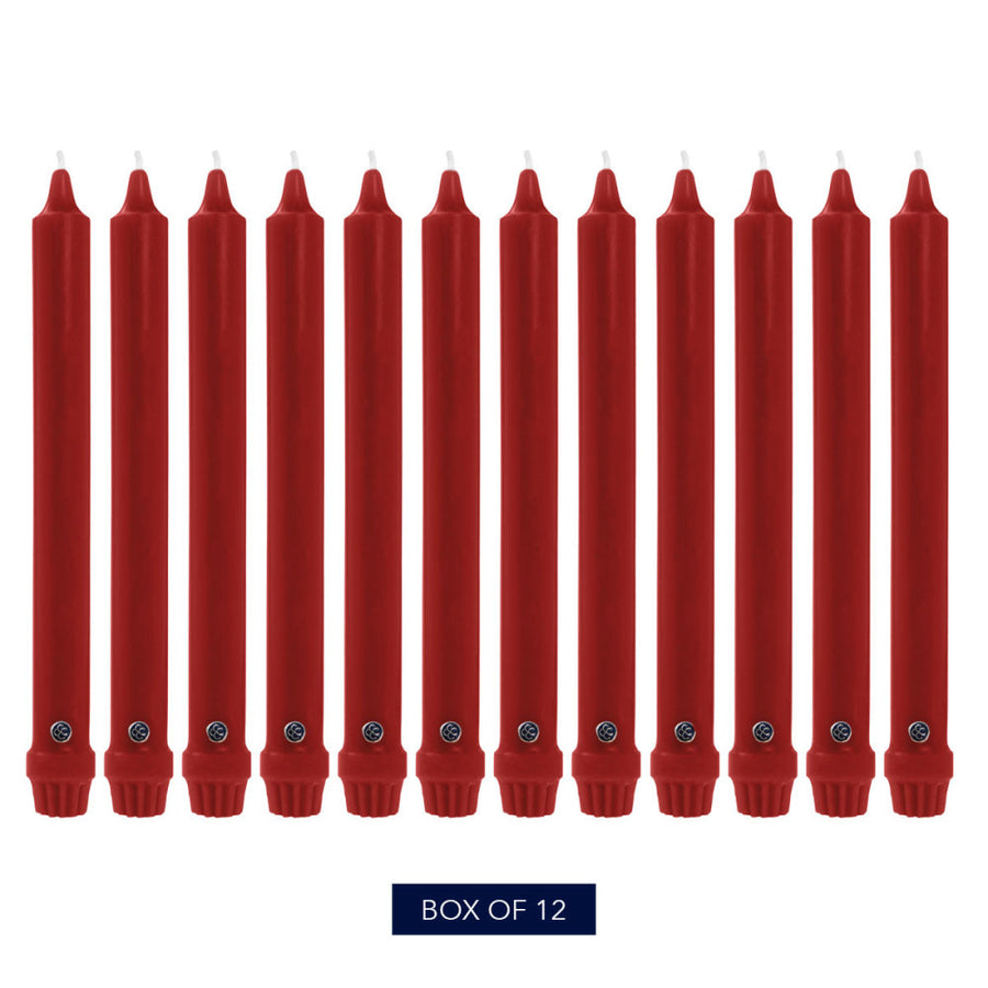 Colonial Candle Classic Taper Candle, Unscented, 12 in, Red, 12 pk (1 inner) - Wholesale