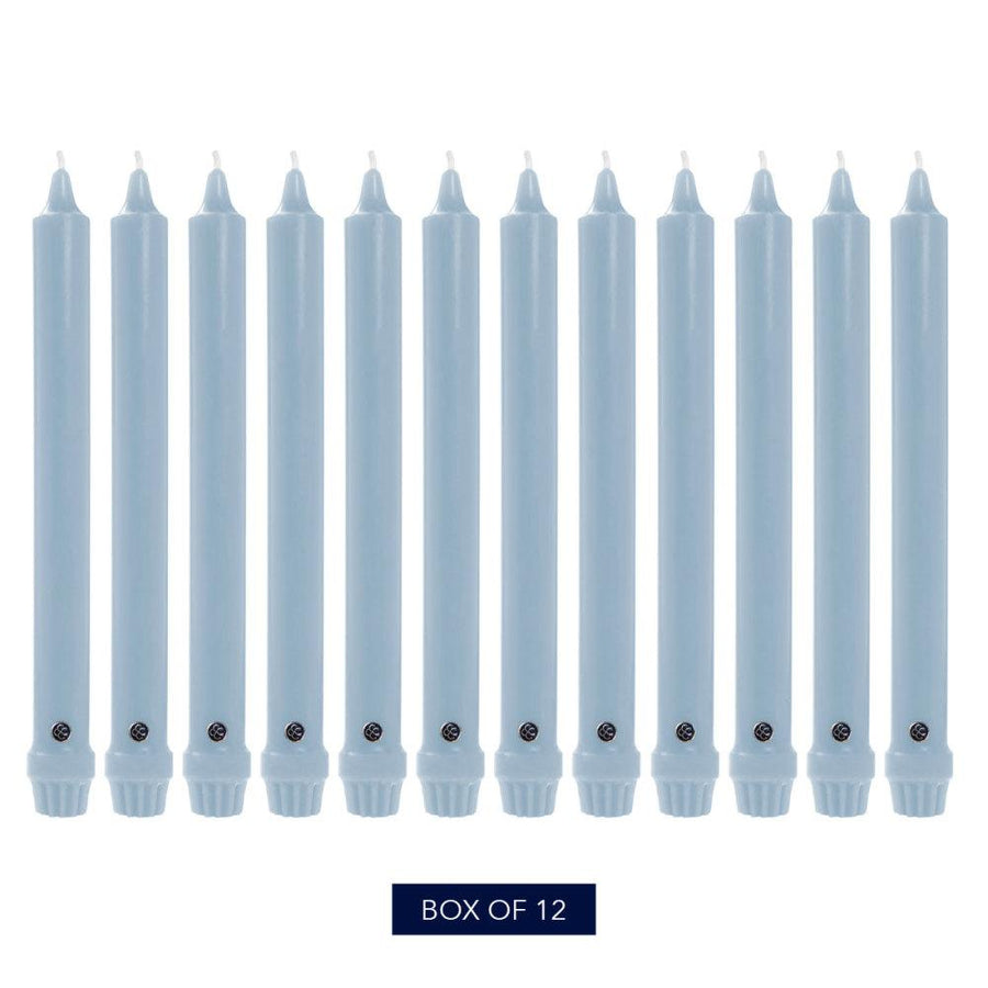Colonial Candle Classic Taper Candle, Unscented, 8 in, Costal Blue, 12 pk (1 inner) - Wholesale