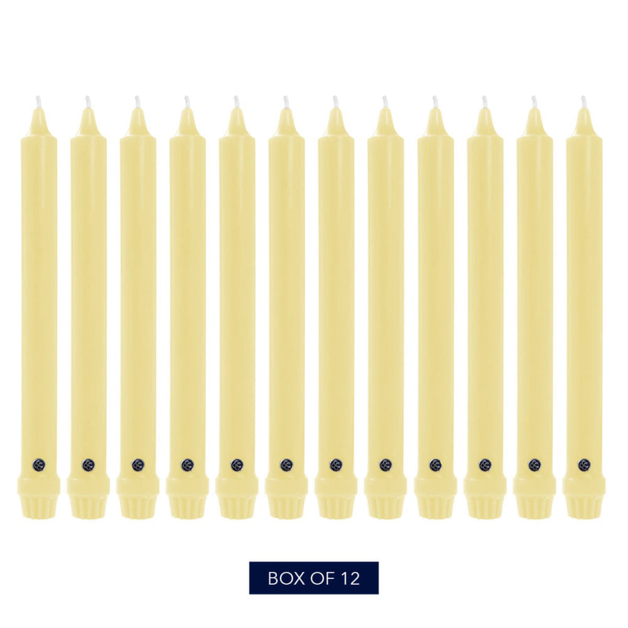 Colonial Candle Classic Taper Candle, Unscented, 10 in, Limoncello, 12 pk (1 inner) - Wholesale