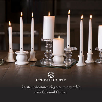 Colonial Candle Classic Taper Candle, Unscented, 10 in, Ivory, 12 pk (1 inner) - Wholesale