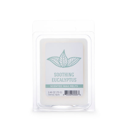 Wellness by Colonial Candle Wax Melt, White, Soothing Eucalyptus, 2.46 oz, 6 cube, Wholesale - 6 pk