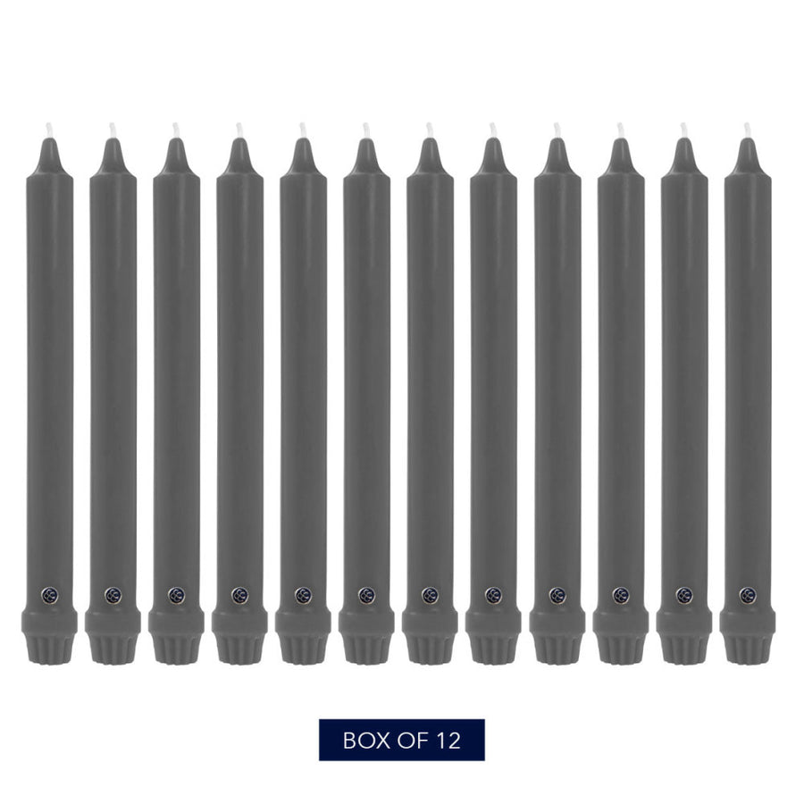Colonial Candle Classic Taper Candle, Unscented, 10 in, Charcoal, 12 Pack