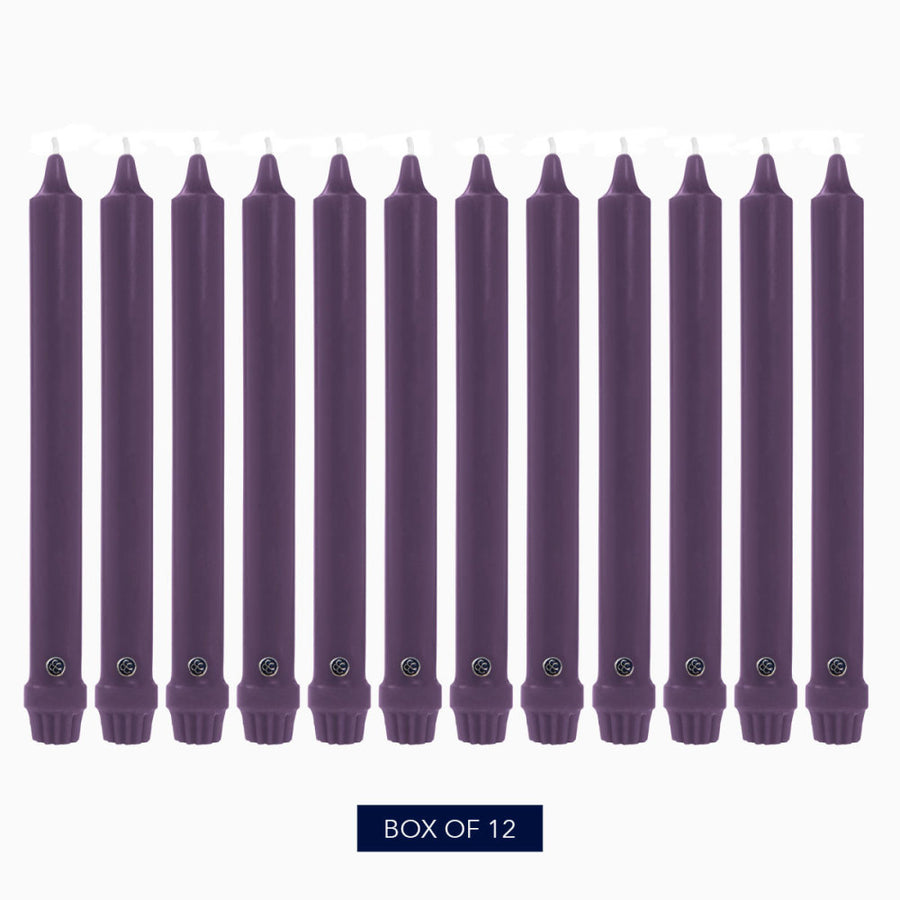 Colonial Candle Classic Taper Candle, Unscented, 12 in, Orchid, 12 pk (1 inner) - Wholesale