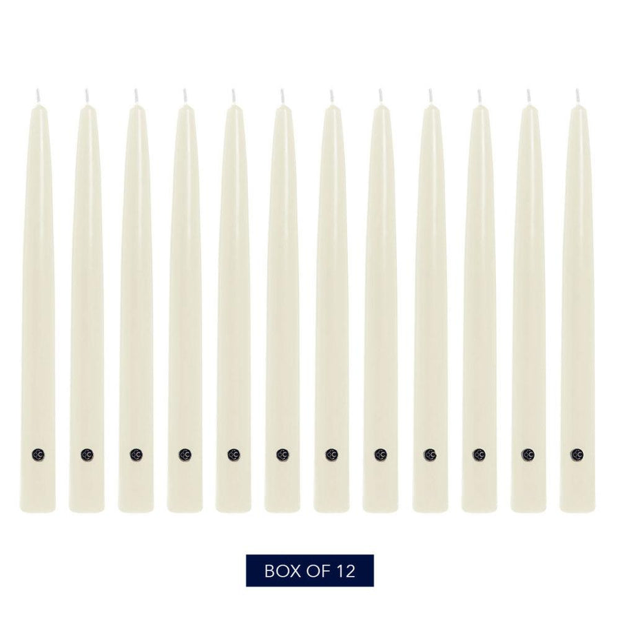 Colonial Candle Handipt Taper Candle, Unscented, 12 in, Ivory, 12 pk (1 inner) - Wholesale