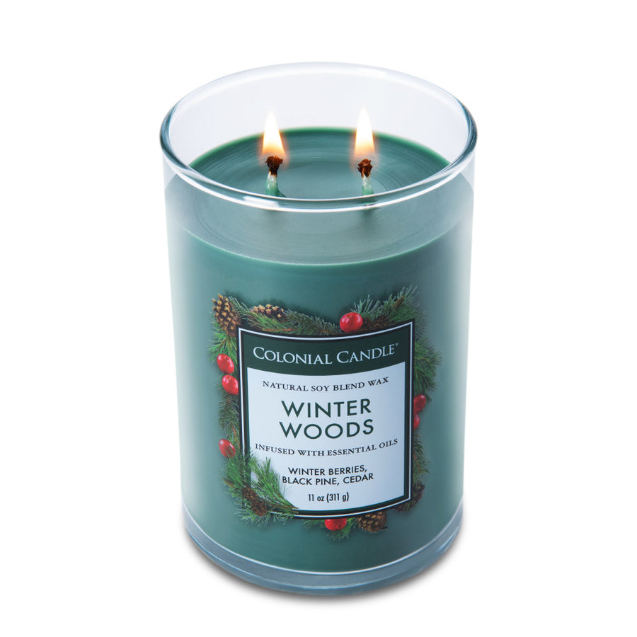 Colonial Candle Classic Cylinder Scented Jar Candle, Winter Woods, 11 oz, Wholesale - 4 pk