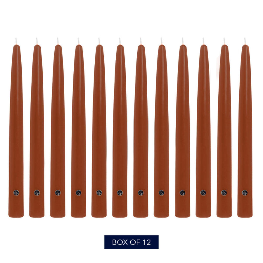 Colonial Candle Handipt Taper Candle, Unscented, 10 in, Amber, 12 pk (1 inner) - Wholesale