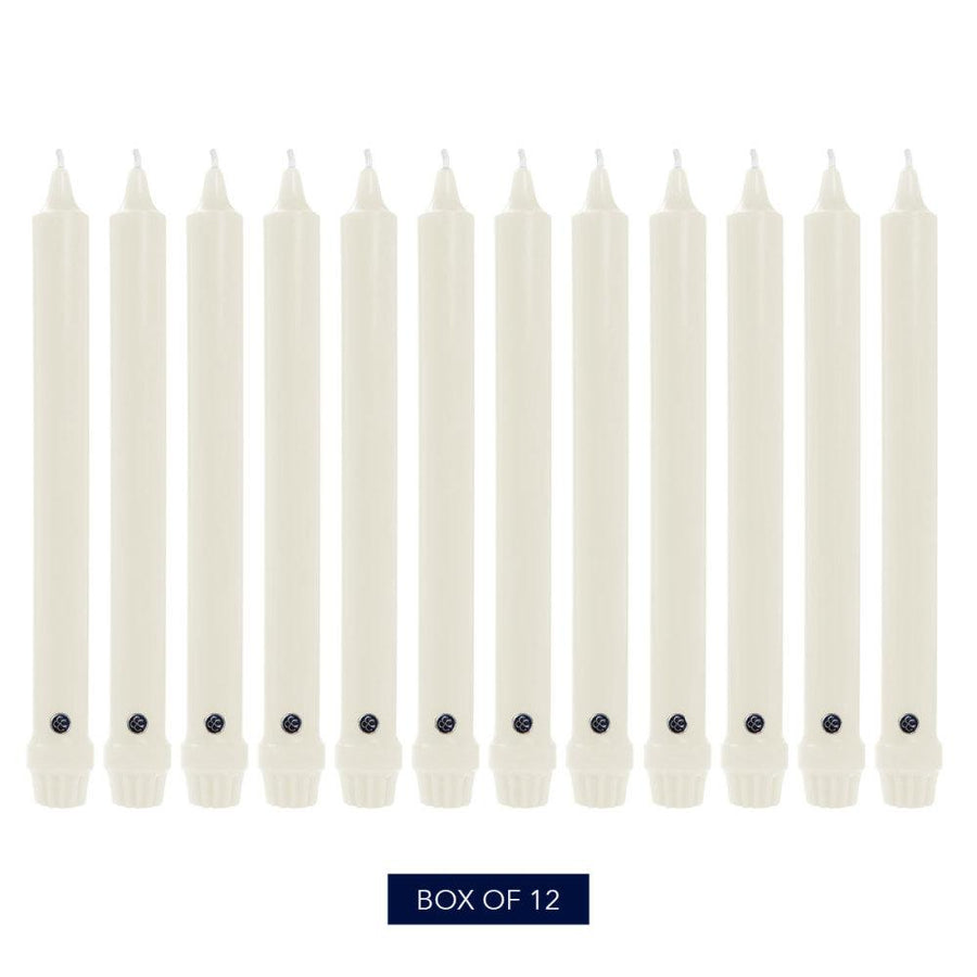 Colonial Candle Classic Taper Candle, Unscented, 8 in, White, 12 pk (1 inner) - Wholesale