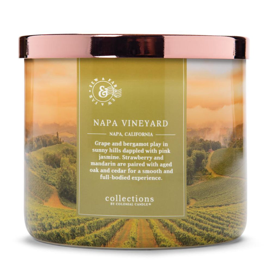 Colonial Candle Scented Jar Candle, Travel Collection, Napa Vineyard, 14.5 oz, Wholesale - 4 pk