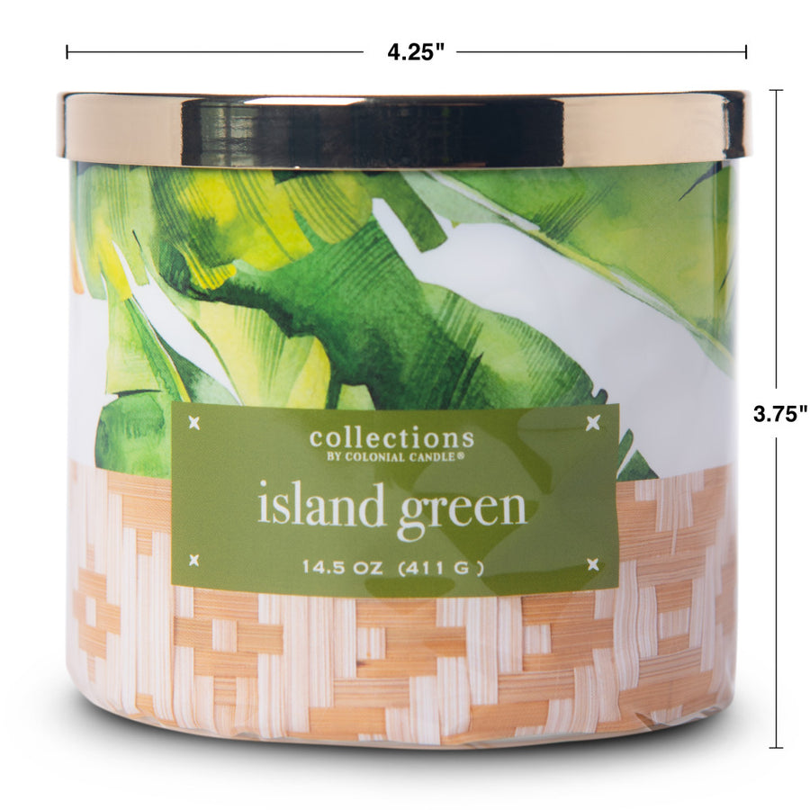 Collections by Colonial Candle Scented Jar Candle, Tropic Island Green, 14.5 oz, Wholesale - 4 pk