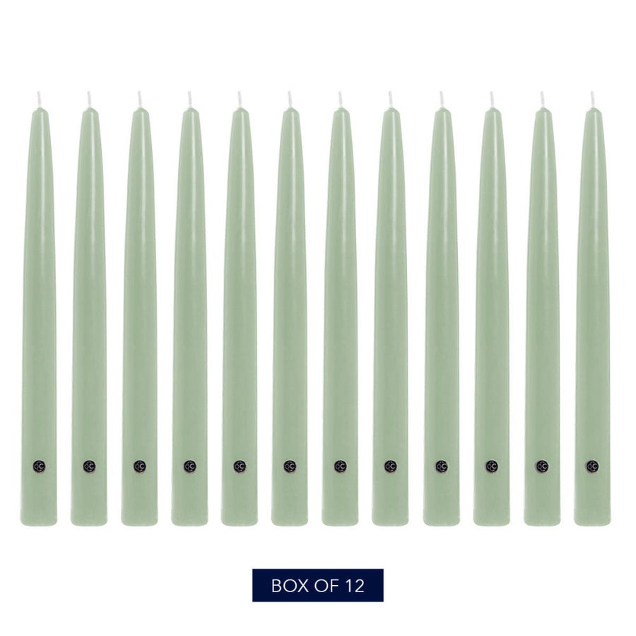 Colonial Candle Handipt Taper Candle, Unscented, 10 in, Colonial Classic Green, 12 pk (1 inner) - Wholesale