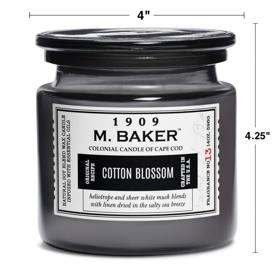 M. Baker Scented Jar Candle, Large, Cotton Blossom, 14 oz, Wholesale - 4 pk