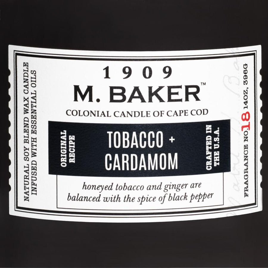 M. Baker Scented Jar Candle, Large, Tobacco and Cardamom, 14 oz, Wholesale - 4 pk