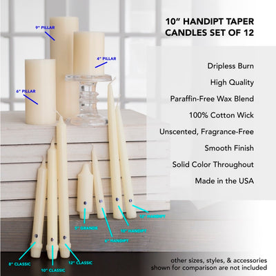 Colonial Candle Handipt Taper Candle, Unscented, 10 in, Orchid, 12 pk (1 inner) - Wholesale