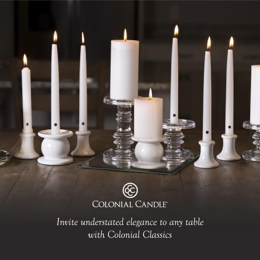 Colonial Candle Classic Taper Candle, Unscented, 8 in, Ivory, 12 pk (1 inner) - Wholesale