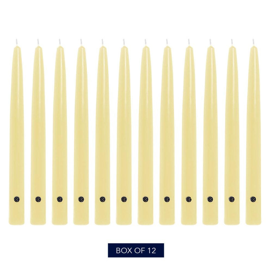 Colonial Candle Handipt Taper Candle, Unscented, 12 in, Limoncello, 12 pk (1 inner) - Wholesale
