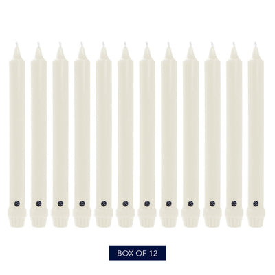 Colonial Candle Classic Taper Candle, Unscented, 12 in, White, 12 pk (1 inner) - Wholesale