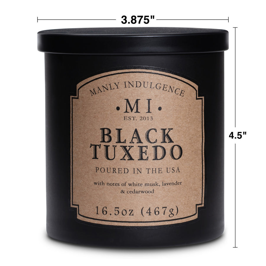 Manly Indulgence Scented Jar Candle, Classic Collection - Black Tuxedo, 16.5 oz - Wholesale - 4 pk