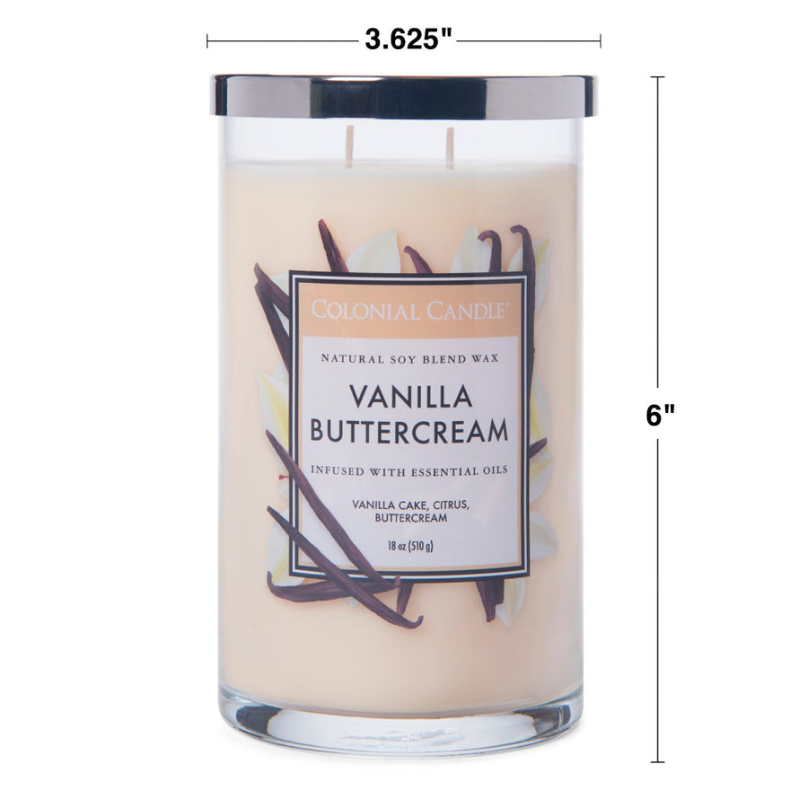 Colonial Candle Classic Cylinder Scented Jar Candle, Vanilla Buttercream, 18 oz, Wholesale - 4 pk